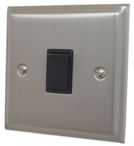G&H DSN1B Deco Plate Satin Nickel 1 Gang 1 or 2 Way Rocker Light Switch